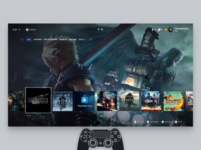 Playstation 5 User Interface Concept
