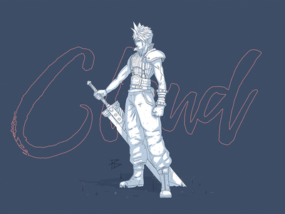Cloud Strife final fantasy cloud photoshop character game illustration