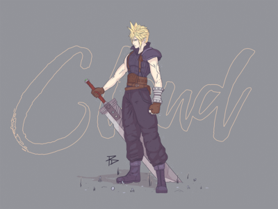 Cloud Strife (Colour) final fantasy cloud photoshop game gaming character illustration