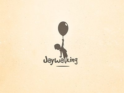 Jaywalking Logo Concept jaywalking cartoon boy balloon logo illustration