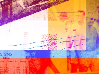 Tropical systems variation 3 overprint calendar table collage art collage pipe beach sunnies old fellas townsville