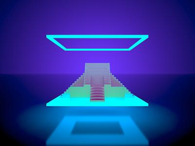 Electric Ziggurat ziggurat babylon sumerian neon magicavoxel voxel