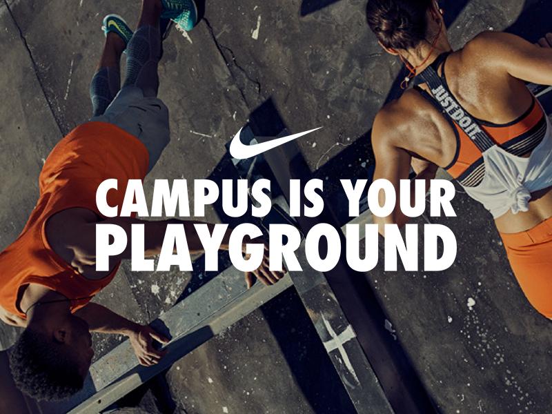 Nike - #CampusIsYourPlayground all fit academy nike training nike running marketing typography logo student nrc ntc nike