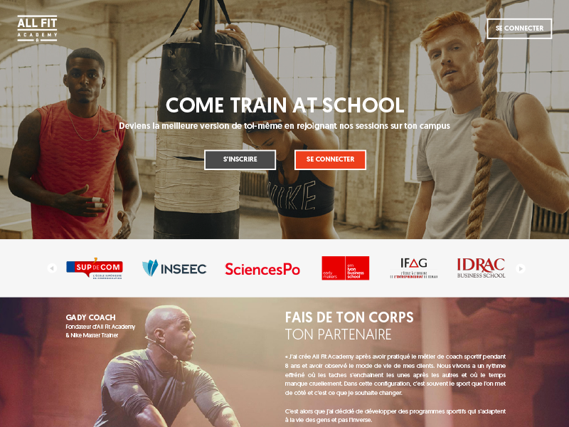 All Fit Academy student school nike home page web design user experience user interface ui ux website