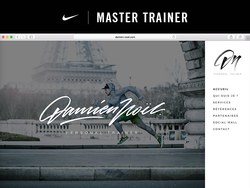 Damien Noël | Nike Master Trainer web design ui ux website athlete gym trainer sport coaching coach nike master trainer nike