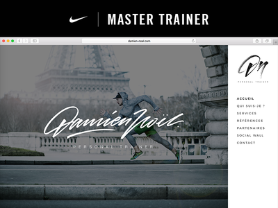 Damien Noël | Nike Master Trainer web design ui ux website athlete gym trainer sport coaching coach nike master trainer nike