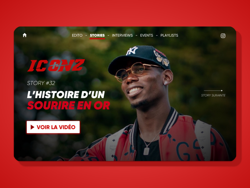 Iconz Project athlete pogba media ui design homepage