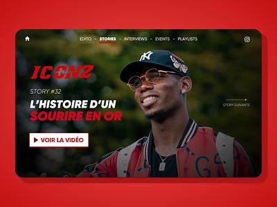 Iconz Project athlete pogba media ui design homepage