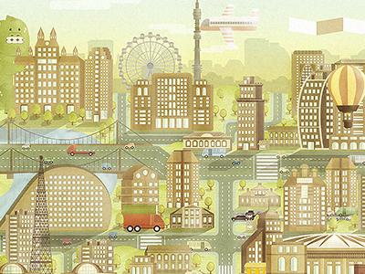 Pringles Poster Vector 050514 map vector city illustration chips van cars buildings roads