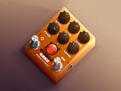 Okko Diablo guitar effect hyperrealistic) hyper realistic effect guitar pedal knob switch orange box