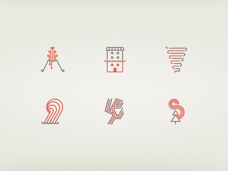 Disasters icons flood tornado tsunami earthquake fire icons vector outlines disasters volcano