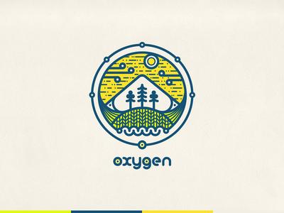 Logotype For Sport Park Oxygen oxygen logo park trees logotype lines sky mountain oxygen ornament vector round atom