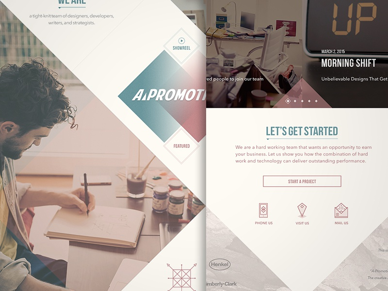 Advertisment agency landing page concept layout vintage web design landing page triangles