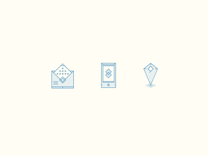 """""""Contact us"""" icons for adv. agency landing page  icons web vector tiny monolines contacts elegant crispy letter phone place triangles"""