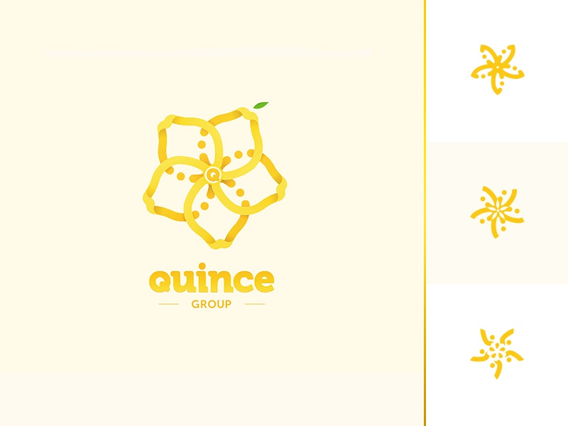 Logotype Quince group _ marks logo vector flower star fresh quince shades fruits group