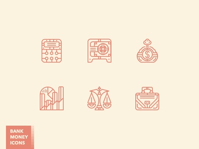 Fancy bank and money icon set calculator moneybag case scales safe monoline vector money bank icon