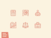 Fancy bank and money icon set