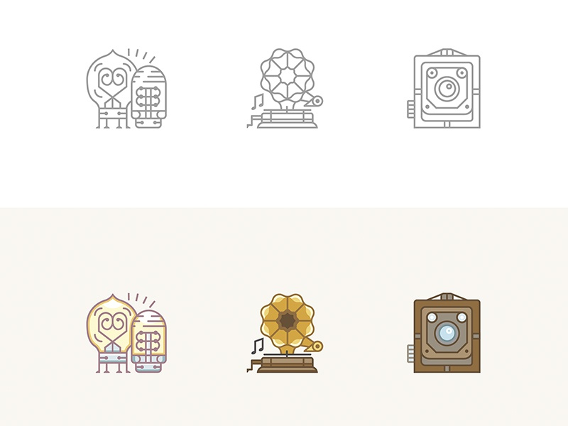 Icons of vintage stuff vacuum tube brownie camera gramophone web outlines vector vintage icon