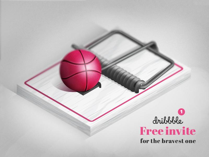 Free dribbble invite designers trap) dribbble invite free invite illustration vector ball mousetrap dribbble invite