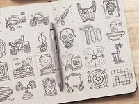 Vintage Icon Set Sketches p2