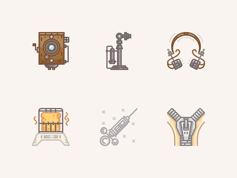 20 century icons / 1910s zipper web vintage vector syringe telephone toaster icon headphones parvo camera camera