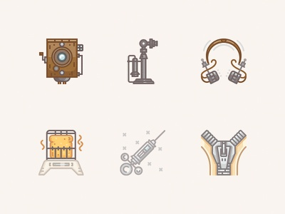 20 century icons / 1910s zipper web vintage vector syringe telephone toaster icon headphones parvo camera camera