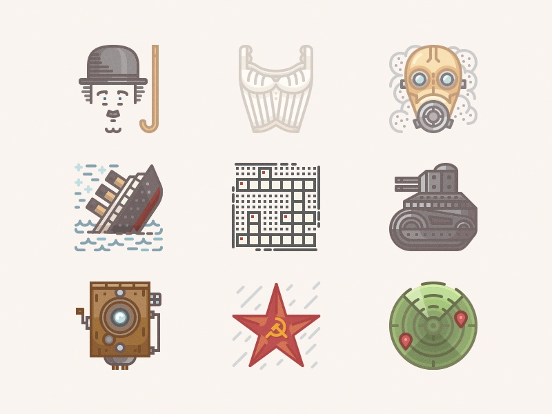 Icons from the past 1910 tank crossword bra parvo communism sonar gas mask charlie chaplin titanic icons