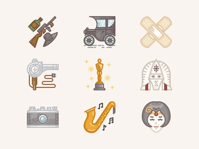 The icons from the past the 1920s jazz 1920 flappers academy awards gangsters ford icon set icons