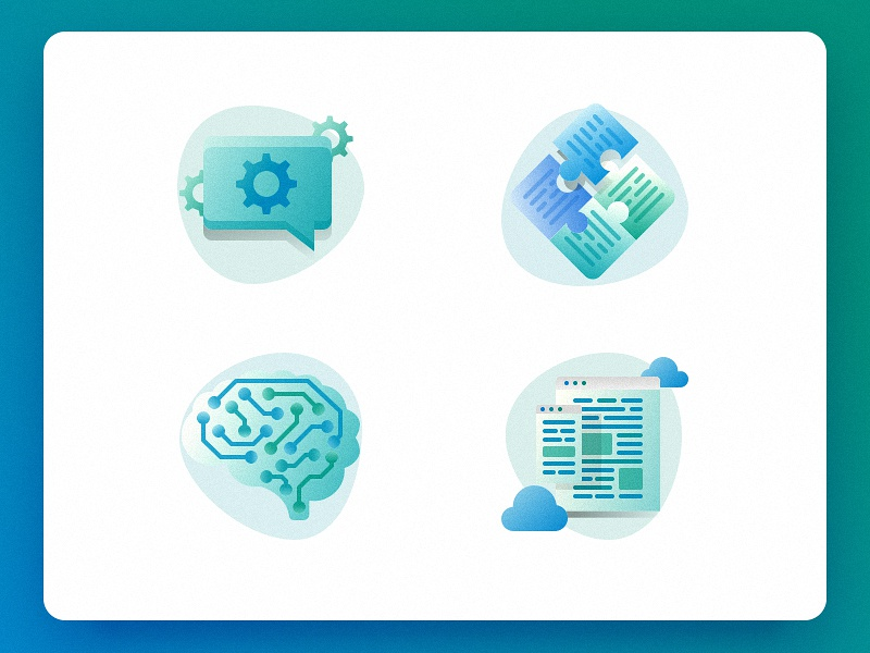 Root codex – Services Icons puzzle responsive ai brain speech bubble ui root codex code landing page icons web