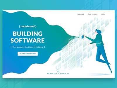 Software Development Company Website Cover Page coders business efficiency website landing page application coding it development software