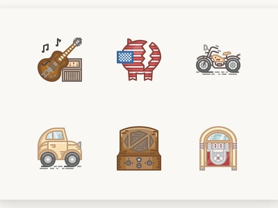 History Icons 1930s amplifier guitar radio jukebox volkswagen usa harley vintage history iconset icons