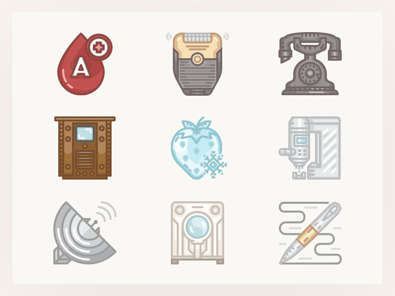 History Icons 1930s p2. ballpen frozen food icons iconset history washing machine radar tv microscope telephone electric razor blood type
