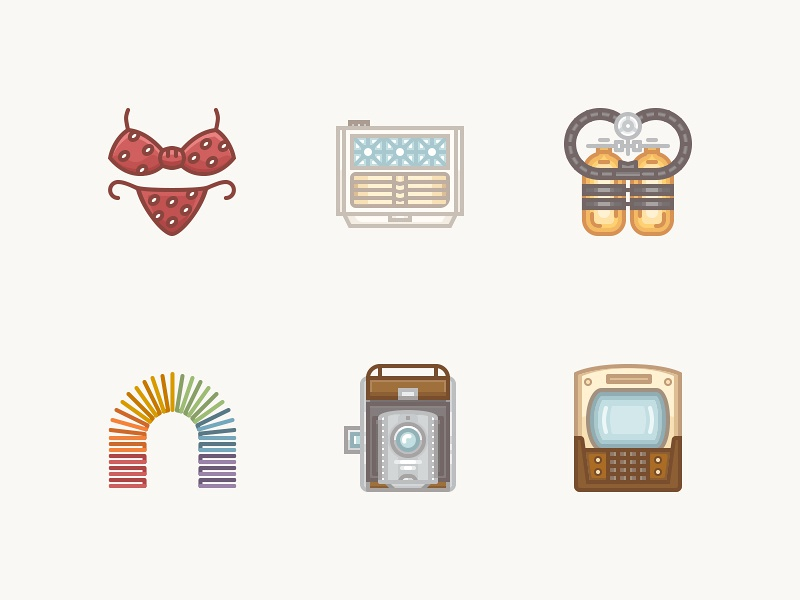 History Icons 1940s vintage air conditioner polaroid bikini slinky aqua-lung scuba gear vintage tv history iconset icons