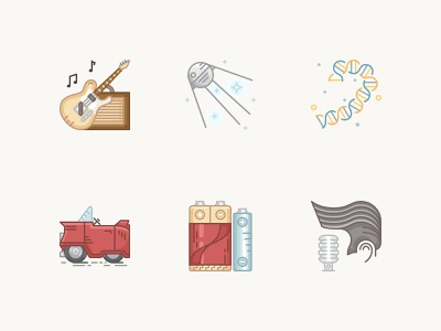 History Geek Icons 1950s elvis presley battery cadillac dna sputnik electric guitar icon pack culture technology icon vector icons