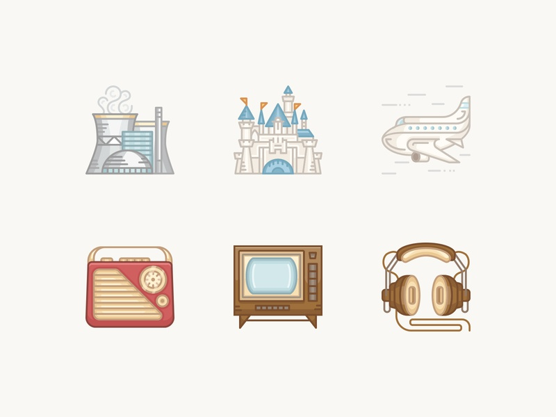 History Geek Color Line Icons 1950 p2 headphones vintage tv nuclear plant boing disneyland transistor radio 1950s historical history illustration vintage vector icons
