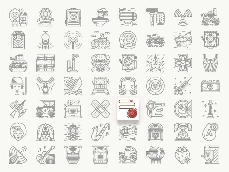 Historical Icons Black and White. 1910-1930 20th century vintage tranport science culture technology historical history geek icon design icon pack icons