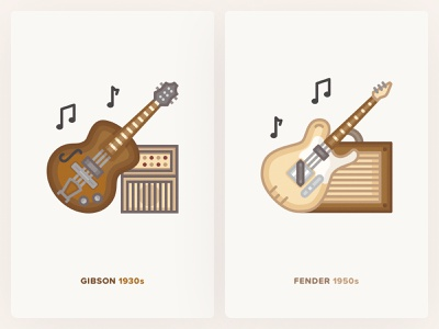 Gibson and Fender Guitarts / History Geek Icons adobe illustrator vector music app 1950s 1930s rock music music amplifier gibson fender electric guitar icons icon
