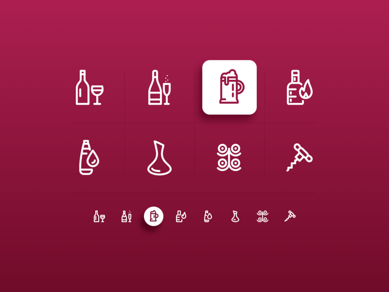 Beverage Icons liquor sketch app freebie download red bar beer tumbler beer wine glass decanter sparkling water champagne wine water icons set icons