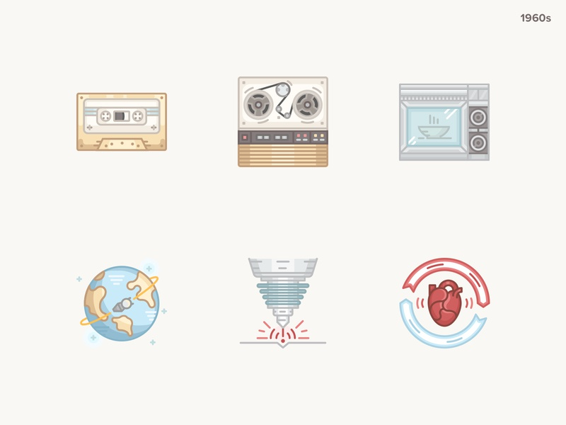History Geek Icons 1960s vector illustration vector heart transplant laser spaceflight microwave oven compact cassette history geek 20century 1960s icons icon
