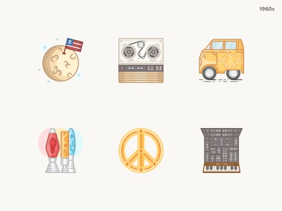 History Geek Icons 1960s -part 2 vector hippies synthesizer magnetophone moon landing peace lavalamp minivan icons design 20century 1960s history geek icons set