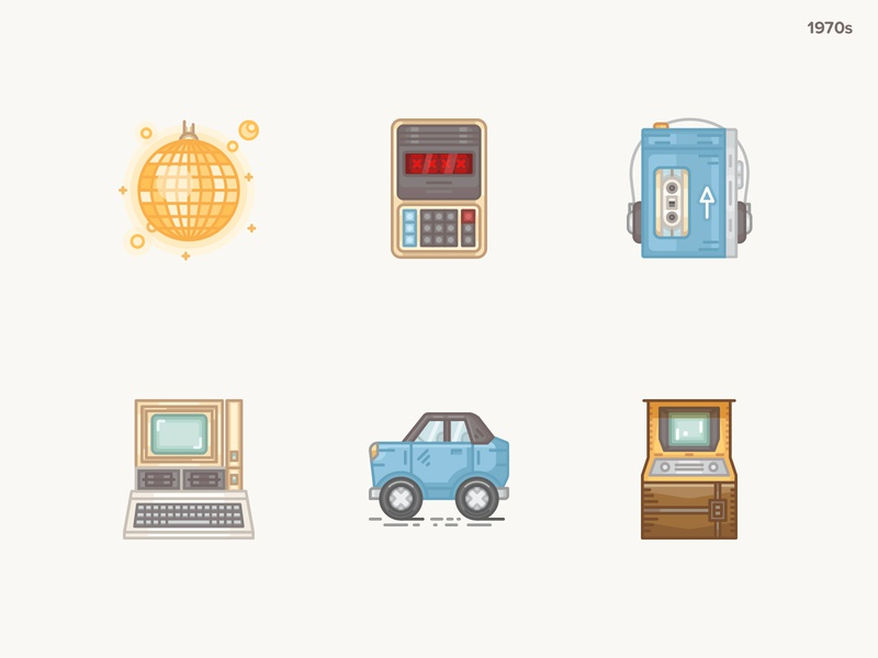 History Geek Icons 1970s pong game chrysler macintosh apple imac walkman calculator disco 20 century history geek 1970s icon design icons icons set