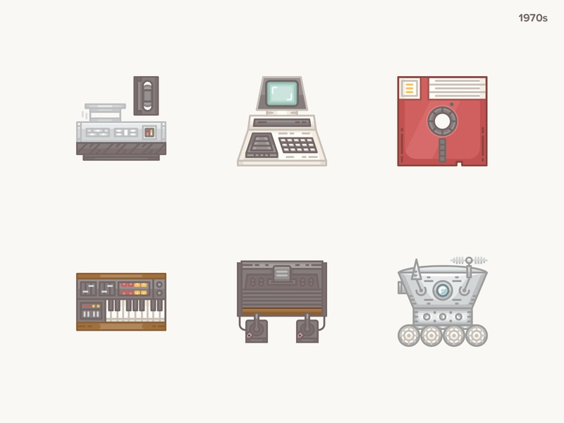 History Geek Icons 1970s-p2 floppy disk lunokhod atari console synthesizer commodore pet history icons history geek 20 century 1970s icons set icons