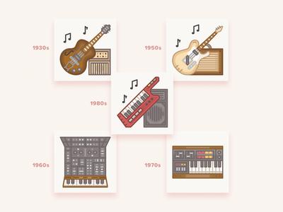 Vintage musical instruments icons / History Geek Set