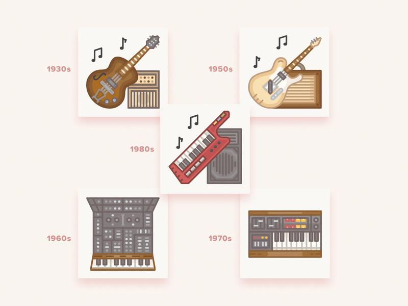 Vintage musical instruments icons / History Geek Set keytar history geek vector yamaha fender gibson synthesizer keyboard electric guitar guitar musical instruments music icons set icons