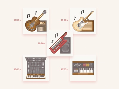 Vintage musical instruments icons / History Geek Set keytar history geek vector yamaha fender gibson synthesizer keyboard electric guitar guitar musical instruments music icons set icons