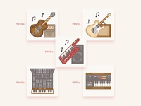 Vintage musical instruments icons / History Geek Set
