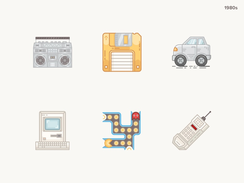 History Geek Icons 1980s vintage computer vintage mobile pacman apple computer hybrid car floppy disk boombox technology icons historical icons 20 century 1980s history geek history icons set icons