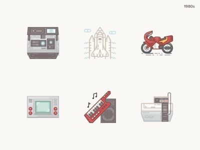 History Geek Icons 1980s part 2 handheld game bike vintage console snes keytar shuttle polaroid technology icons icon set icons history geek history 20 century 1980s
