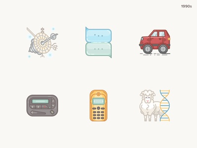 History Geek Icons 1990s messanger wolkswagen vintage mobile sheep cloning galileo history geek 20 century 1990s icons set icons