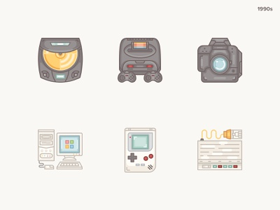 History Geek Icons 1990s- part 2 vintage gaming console windows slr camera icon sega icon gameboy icon pentium icon modem icon 20 century 1990s history icon set history geek vintage vector icons